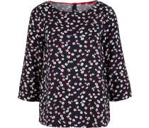 Bluse nachtblau / weiß / rot