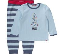 Baby Schlafanzug 'Duplo' für Jungen hellblau / dunkelblau / rot