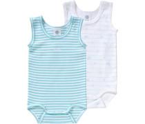 Baby Bodys Doppelpack für Jungen Organic Cotton türkis / weiß