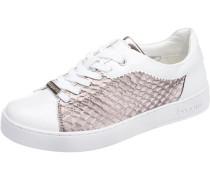 Sneaker mit Metallic-Look rosegold / weiß