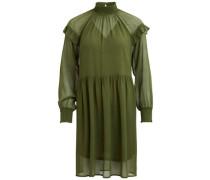 Kleid mit langen Ärmeln Rüschendetail grün