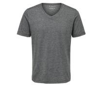 T-Shirt V-Ausschnitt schwarz / offwhite