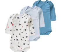 3er-Pack Bodys Sterne für Jungen blau / himmelblau / hellblau / dunkelgrau / orangerot / naturweiß