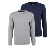 Basic-Sweatshirt mit Rundhals blau / grau