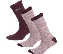 3 Paar Socken hellgrau / rot / weinrot