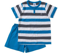 Schlafanzug für Jungen blau / himmelblau / anthrazit / hellgrau