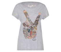 T-Shirt 'With hand' hellgrau / mischfarben