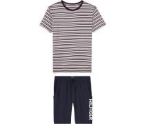 Pyjama 'SS Short SET Mini Stripe' navy / rot / weiß