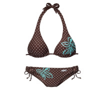 Triangel-Bikini türkis / braun / weiß