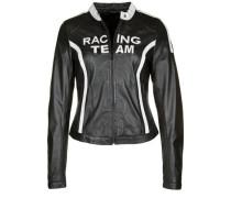 Lederjacke Racing Team schwarz / weiß
