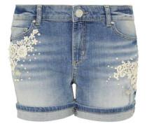 Jeans-Shorts mit Spitze und Perlen blue denim
