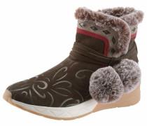 Winterboots hellbeige / braun / rot / weiß