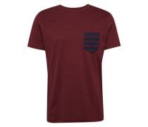 T-Shirt 'jcotable TEE SS Pocket NO' blau / weinrot