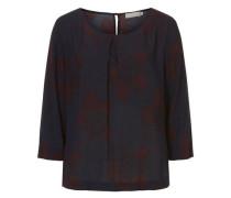 Bluse mit grafischem Print nachtblau / burgunder