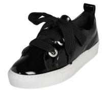 Leder-Sneaker mit Satinschnürbändern schwarz