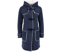 Melierter Sweat-Mantel mit Plüsch blau