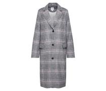 Mantel 'wool Overcoat - Plaid' grau / pink