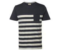 O-Ausschnitt-T-Shirt blau