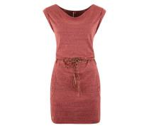 Jerseykleid mit Flechtgürtel rotmeliert