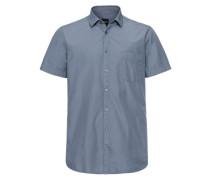 Freizeithemd 'Cattitude_1-short' taubenblau