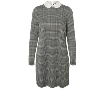 Kariertes Kleid rauchgrau / weiß