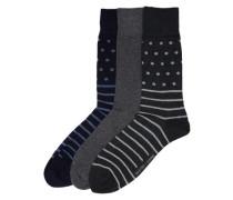 Socken (3er-Pack) blau / grau