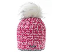 Klio Lux Beanie Damen pink / weiß