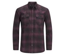 Langärmeliges Hemd dunkelgrau / aubergine