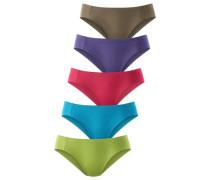 Pikee-Bikinislips (5 Stck.) blau / braun / grün / lila