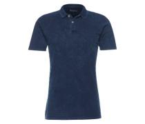 Poloshirt mit Struktur-Streifen dunkelblau