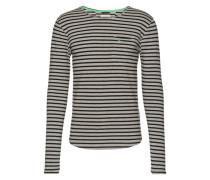 Langarmshirt mit Streifen 'Bopping' graumeliert / schwarz