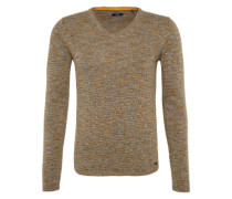 Feinstrickpullover 'modern v-neck sweater' braunmeliert