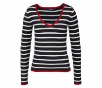 V-Ausschnitt-Pullover rot / schwarz / weiß