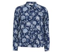 Bedrucktes Langarmhemd blau