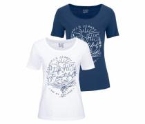 Rundhalsshirt (Packung 1 tlg. 2er-Pack) dunkelblau / weiß