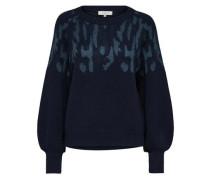 Woll-Print-Strickpullover dunkelblau
