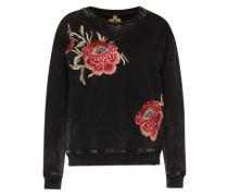 Sweatshirt 'roses' schwarz