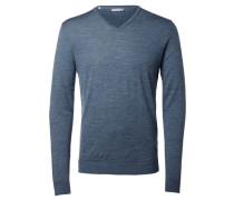 Merinowoll-Strickpullover blau