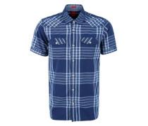 'Regular' Hemd mit Denim-Details blau / weiß
