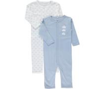 Schlafanzug 2er-Pack hellblau / eierschale