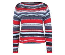 Pullover in grobem Häkelstrick blau / rot