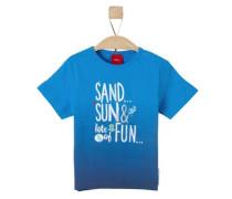 Printshirt in Dip Dye cyanblau / dunkelblau / weiß
