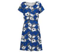 Kleid 'floral Geo' blau / weiß