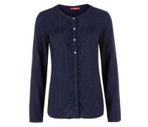 Bluse mit Webmuster blau