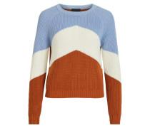 Pullover hellblau / rostbraun / naturweiß