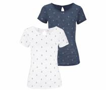 T-Shirts marine / weiß