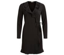 Rüschen Wickel Kleid schwarz