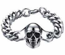 Edelstahlarmband »Totenkopf« silber