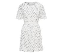 Punkt-Kleid mit kurzen Ärmeln weiß