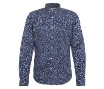 Hemd 'fitted melange aop shirt' nachtblau / grau